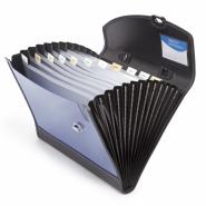 Servieta RAP A4+ID Designer, 13 compartimente, albastru metalic