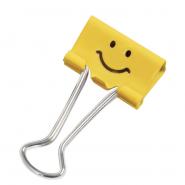 Binder clip RAP Emoticon 32mm, 20 buc/cutie,Yellow