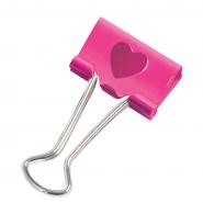 Binder clip RAPESCO HEART 19mm, 20 buc/cutie, roz aprins