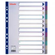 Separatoare A4 Maxi din plastic, 1-12