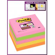 Notite adezive Post-it Super Sticky, 76*76 mm, neon asortate, 90 file/buc, 5buc/set