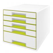 Cabinet cu sertare WOW, 5 sertare, alb/verde